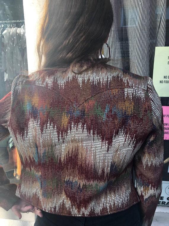 Vintage H Bar C Cropped Open Front Tapestry Jacket - image 4