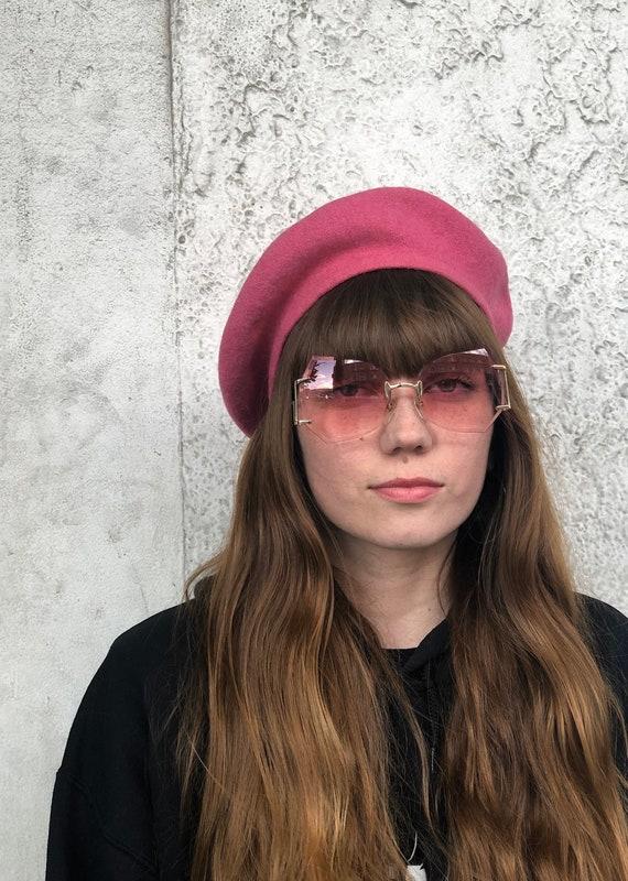 Vintage Solid Pink Beret Hat