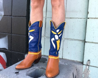Vintage Abstract Color Block Cowboy Boots