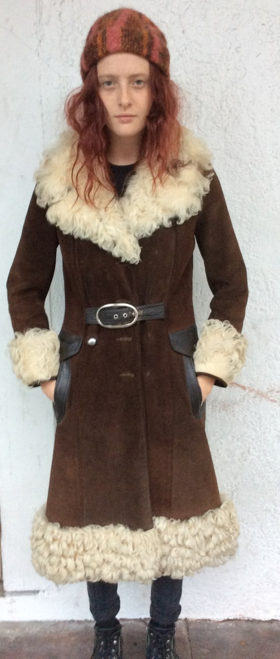 SALE Amazing 1970's Brown Suede Mohair Trim Trench
