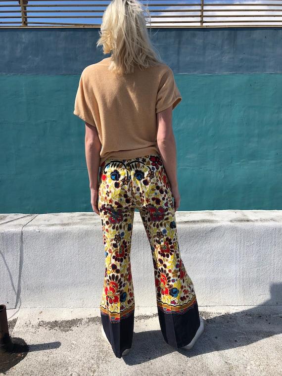 Vintage Psychedelic Flower Print Flare Pants - image 3