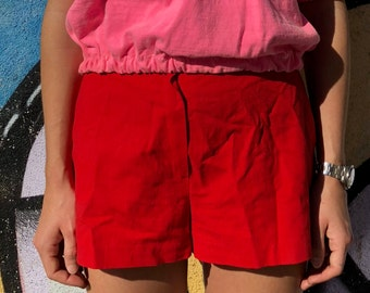 Vintage 1970's Retro Red Shorts With  Buckle