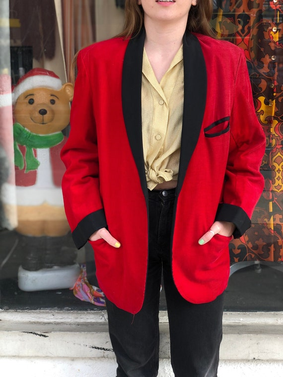 Vintage Puritan Red Corduroy Blazer Jacket