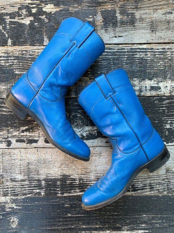 Vintage 1990s Mid Calf Bright Blue Country Western