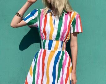 Cute Bright Swirly Striped Short Sleeve Collared Cotton Dress W/ Wide Elastic Waist