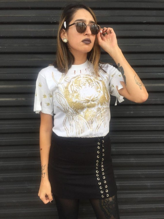 1980s Glitter Tiger Print Cropped Top As-is