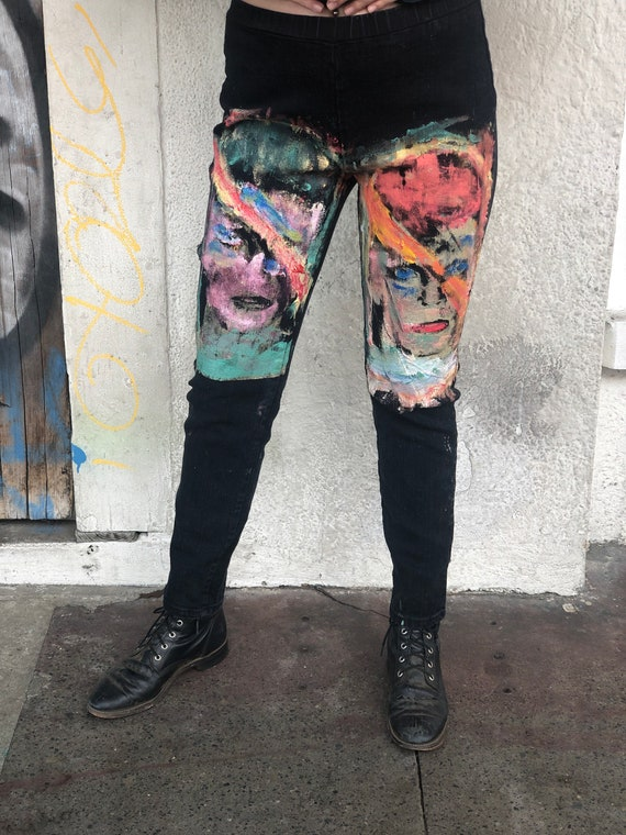 Hand Painted David Bowie Tapered Denim Stretchy Pa