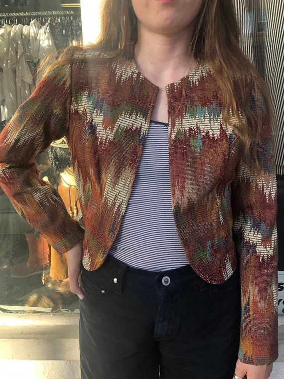 Vintage H Bar C Cropped Open Front Tapestry Jacket - image 1