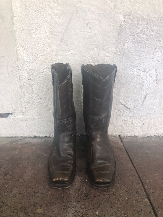 Western Brown Leather Square Toe Cowboy Boots