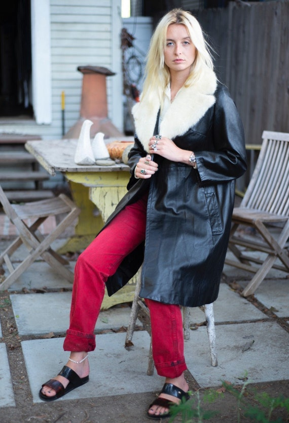 Vintage Fur Collar Leather Trench Coat