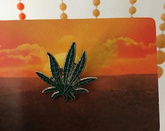 Vintage Deadstock Enamel Weed Pot Leaf Pin