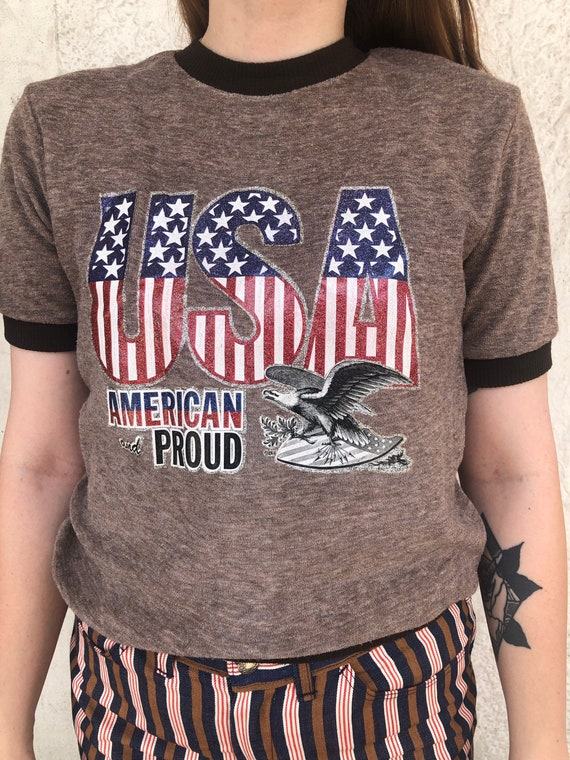 Vintage USA American and Proud Terry Cloth T-Shirt