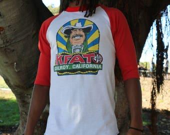 Vintage 'KFAT FM' Mid Sleeve Gilroy California  Shirt