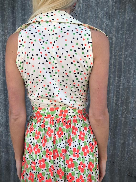"""Vintage """"Jo Jr Dallas"""" Polka Dot & Floral Two-Pie… - image 3"""