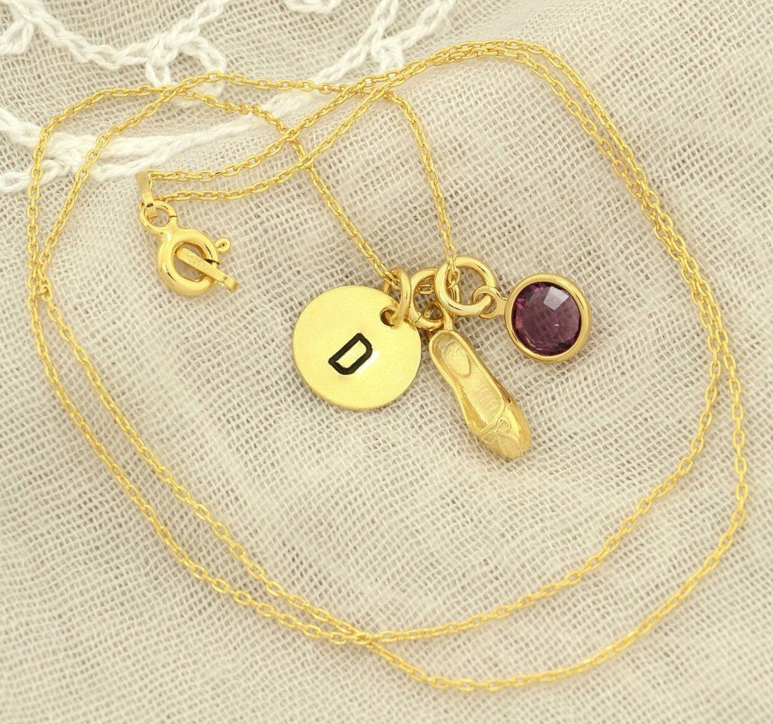 ballet slipper shoe gold sterling silver personalized pendant w swarovski birthstone crystal initial custom letter disc necklace