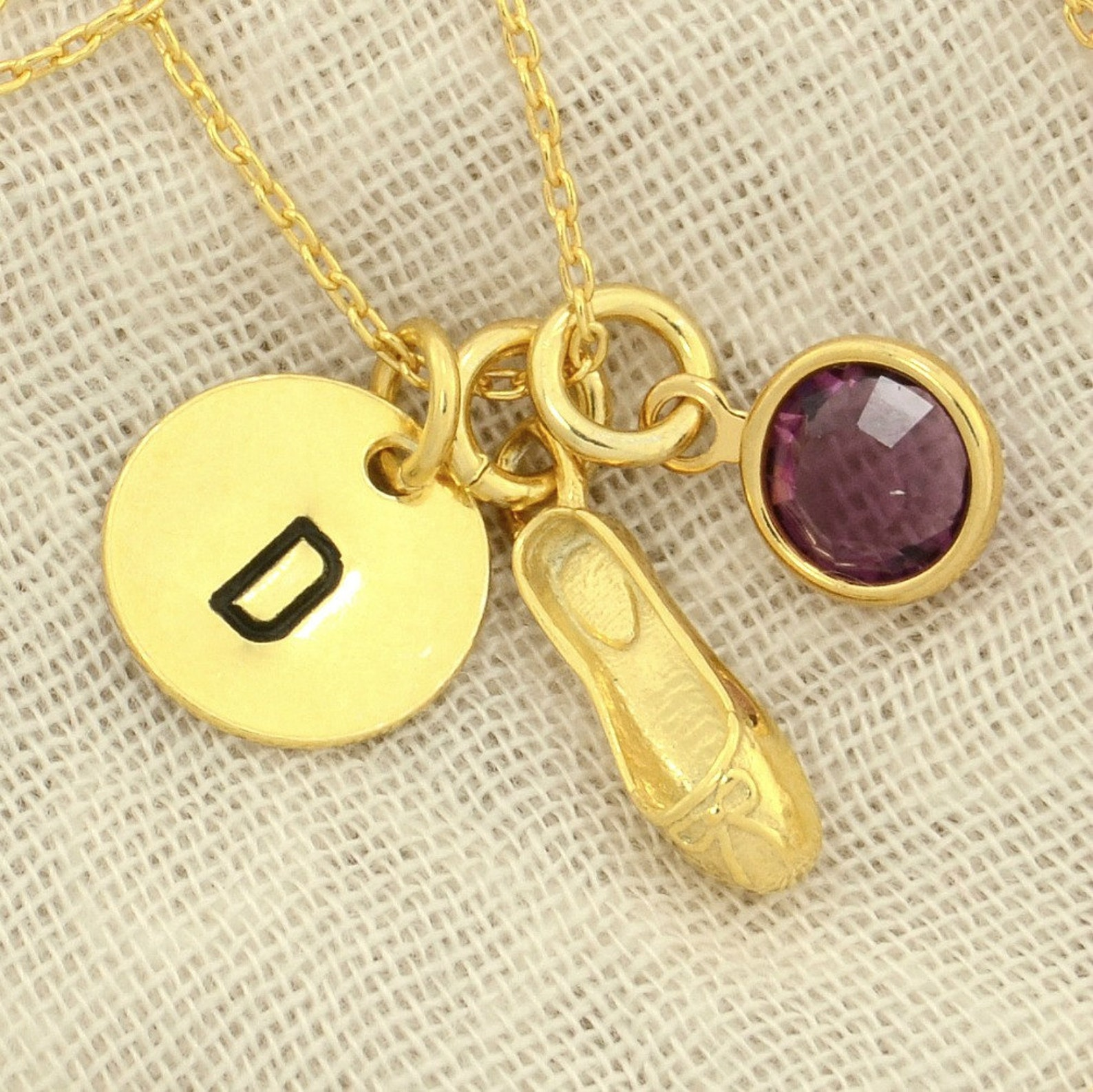 ballet slipper shoe gold sterling silver personalized pendant w swarovski birthstone crystal initial custom letter disc necklace
