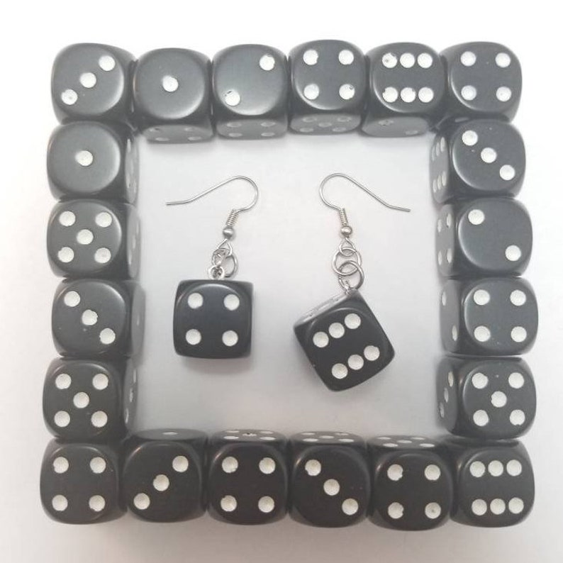 Black Dice Earring pair  Board Game Jewelry Dice Jewelry image 0