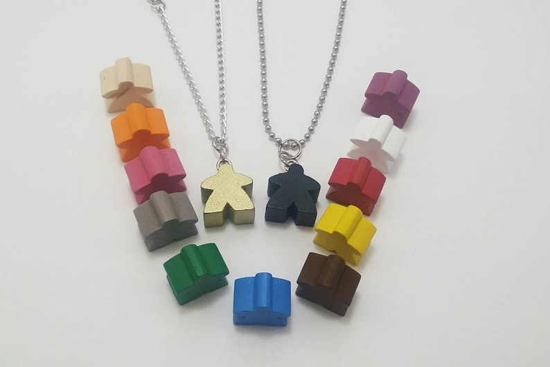 Meeple Necklace choose from 13 different colors For the image 0