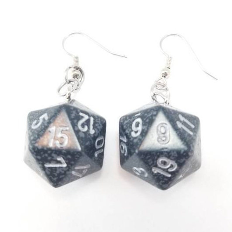 D20 Earrings  Dice Earrings RPG Dice Jewelry Board Game image 0