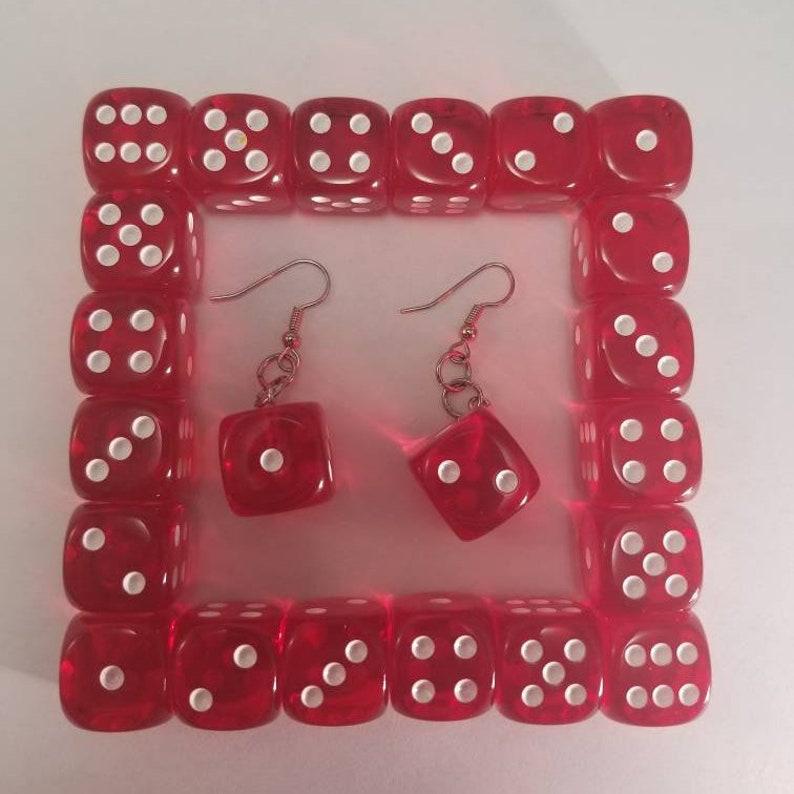 Translucent Red Dice Earrings Casino Jewelry Casino Dice image 0