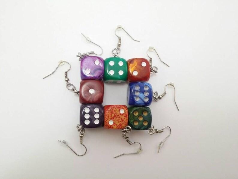 Unique Dice Earrings  Board Game Jewelry Dice Jewelry Board image 0
