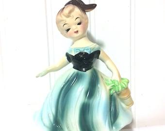 Adorable Vintage Girl in Blue Dress