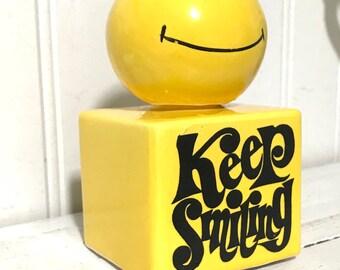 Vintage Keep Smiling Happy Face Salt and Pepper