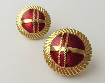 Red & Gold Large Round Clip On Earrings, Red Earrings, Gold Tone Earrings, 1980s Statement Earrings, Large Round Clip Ons, Textured Earring,