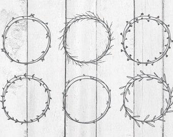 Handdrawn Wreath Svg - Monogram SVG - Monogram Frame SVG - Laurel Wreath SVG - Wreath Svg - Wreath Svg Bundle - Handdrawn Frames - Frame Svg