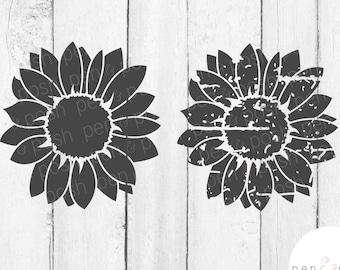 Sunflower SVG - Flower SVG - Grunge Sunflower - Grunge Flower SVG - Distressed Flower Svg - Distressed Sunflower Svg - Sunflower Clipart