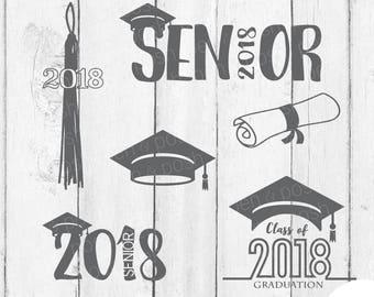 Graduation SVG - Graduation DXF - Graduation Clipart - Senior 2018  2018 Senior  Diploma  Graduation Cap Svg