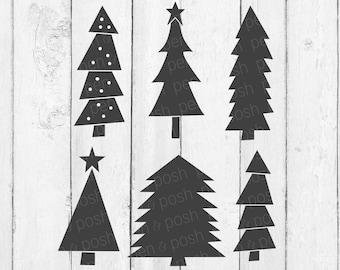 Christmas Tree SVG rustic Hand Drawn Christmas Trees | Etsy