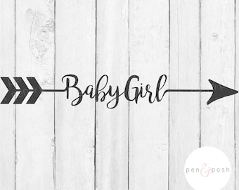 Baby Girl SVG - Baby SVG - Baby Clipart - Baby Girl Clipart - Baby Girl Arrow  Baby Girl Cut File - Arrow  Baby Girl