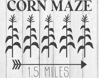 Corn SVG - Corn Maze - Corn Maze SVG - Corn Maze Sign - Fall Decor - Fall Cut Files - Fall Apparel - Fall Signs - Digital Download - SVG