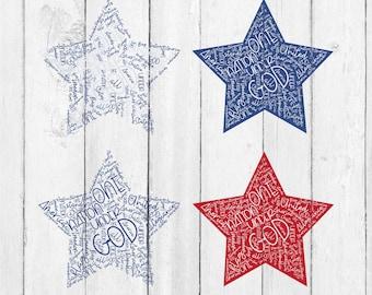 Star Pledge Svg - American SVG - American Svg File - American Cut File - America Cut File For Cricut - Merica Svg - Merica Star Svg - Svg