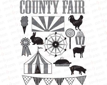 Fair SVG - Carnival SVG - Carnival Clip Art - County Fair SVG - Ferris Wheel  Fair Farm Animals - Fair Clip Art -   Dxf