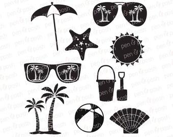 Beach SVG - Vacation SVG - Beach DXF - Summer Svg Files - Sunglasses    Cricut Files - Silhouette - Sea Shells