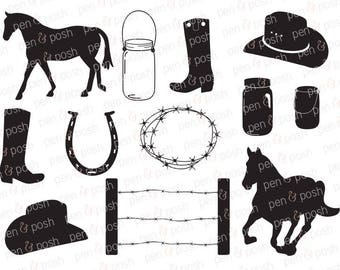 Country SVG - Cowboy SVG - Horse SVG - Western  Rustic  Cut Files - Silhouette files - Cricut files - Cowboy Dxf
