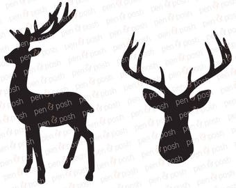 Deer SVG - Antlers SVG - Deer Head SVG - Deer Antler Svg - Stag Svg - Christmas Deer Svg - Cut Files - Deer Clipart