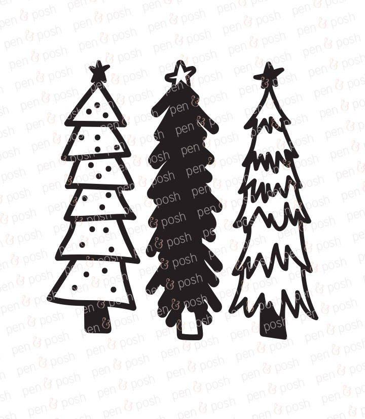 Christmas Tree SVG Rustic Hand Drawn Trees