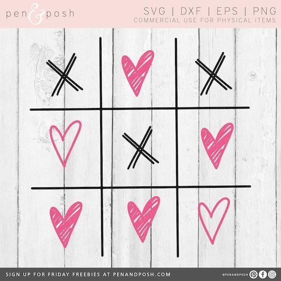 Tic Tac Toe Svg Valentines Day Svg Valentine Svg Heart Etsy