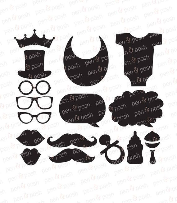 Baby Shower Props Svg Gender Reveal Svg Mustache Baby Etsy