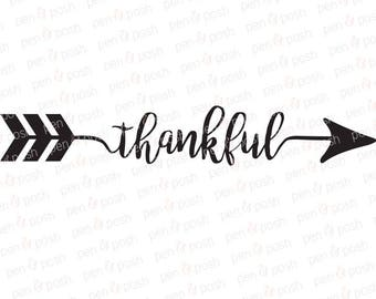 Thankful Arrow SVG - Thankful SVG - Thankful Arrow Clipart - Thankful Arrow Silhouette - Thankful Arrow Cricut Cut File