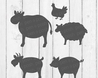 Vintage Farm Animals SVG - Show Animals - Show Pig Svg - Chicken SVG - Pig SVG - Sheep Svg - Cow Svg - Farm Animal Cut Files - Farm Animal