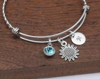 Sunflower bracelet, sunflower jewellery, sunflower gift, personalised sunflower jewellery, gift for her, initial, birthstone