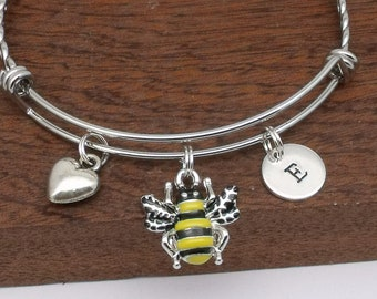 Bumble bee bracelet, bee jewellery, bee gift, honey bee, bee gift for her, honey bee initial jewellery
