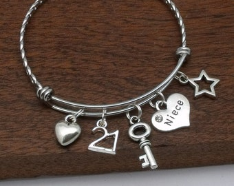 Niece 21st Bracelet Birthday Gift For Jewellery Her Age 21 Personalised