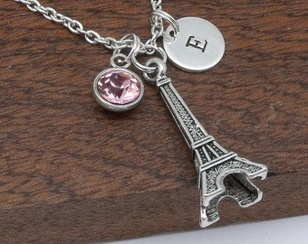 Paris Eiffel Tower necklace, Eiffel Tower jewellery, Paris Eiffel tower gift for her, personalised jewellery, birthstone