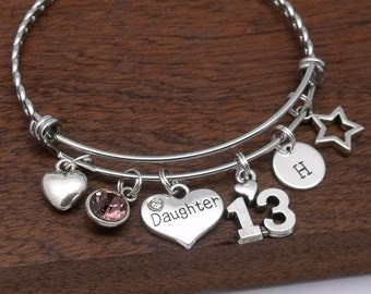 13th Birthday Bracelet For Daughter Age 13 Jewellery Gift Personalised Year Old Initial Birthstone