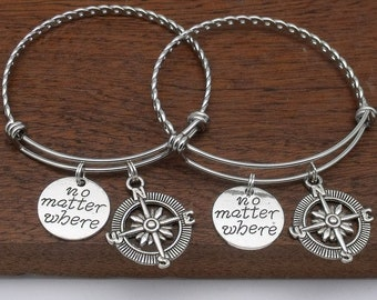 Set of 2 two distance compass friendship bracelet, no matter where, personalised gift for friend, going away gift, sister, best friend